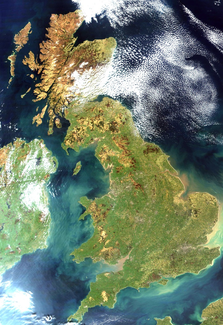 United Kingdom satellite view