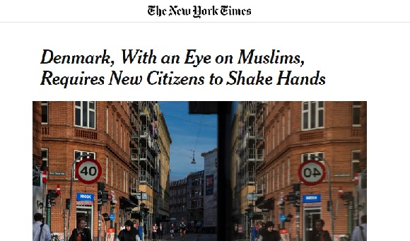 Denmark handshake law New York Times