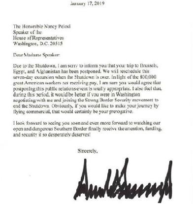 trump's letter to pelosi
