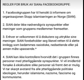 SIAN Facebook group policy